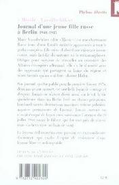 Journal d'une jeune fille russe à Berlin ; 1940-1945 - 4ème de couverture - Format classique