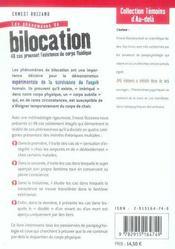 Les phénomènes de bilocation - 4ème de couverture - Format classique