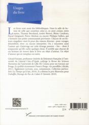 Usages du livre - 4ème de couverture - Format classique