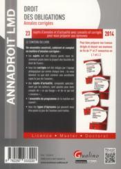 Annales corrigees 2014. droit des obligations, 15eme edition - 4ème de couverture - Format classique