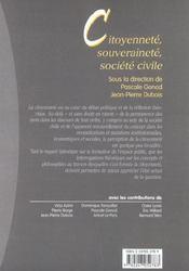 Citoyennete, souverainete, societe civile - 1ere ed. - 4ème de couverture - Format classique