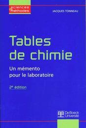 Tables de chimie ; un mémento pour le laboratoire (2e édition) - Intérieur - Format classique
