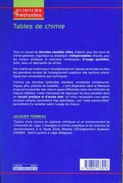 Tables de chimie ; un mémento pour le laboratoire (2e édition) - 4ème de couverture - Format classique