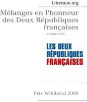 Mélanges en l'honneur des deux Républiques françaises - Couverture - Format classique