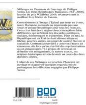 Mélanges en l'honneur des deux Républiques françaises - 4ème de couverture - Format classique