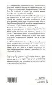 Simone de Beauvoir ; le goût d'une vie - 4ème de couverture - Format classique