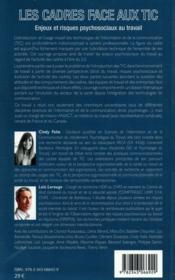 Les cadres face aux tic ; enjeux et risques psychosociaux au travail - 4ème de couverture - Format classique