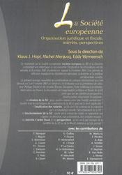 La societe europeenne. organisation juridique et fiscale, interets, perspectives - 4ème de couverture - Format classique