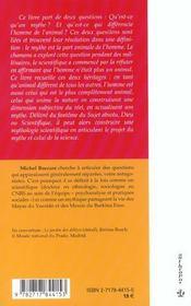 La part animale de l'homme ; esquisse d'une théorie du mythe et chamanisme - 4ème de couverture - Format classique