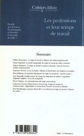 Les professions et leur temps de travail - Intérieur - Format classique