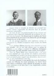 Le tarot sacré ; manuel initiatique - 4ème de couverture - Format classique
