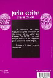 Parlar occitan auvergne-velay livre seul - 4ème de couverture - Format classique
