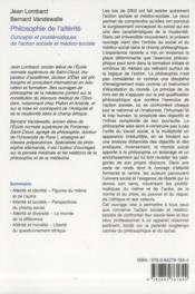 Philisophie de l'altérité - 4ème de couverture - Format classique
