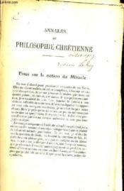 Essai Sur La Notion Du Miracle - Incomplet. - Couverture - Format classique