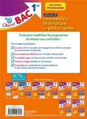 Objectif bac ; spécialité humanités, littératures et philosophie ; 1re - 4ème de couverture - Format classique