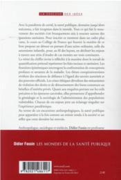 Les mondes de la santé publique : excursions anthropologiques ; cours au collège de France 2020-2021 - 4ème de couverture - Format classique