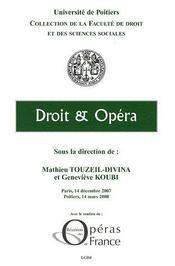 Droit et opéra - Couverture - Format classique