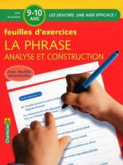 La phrase ; analyse construction ; CM1, 4e primaire - Couverture - Format classique