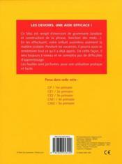 La phrase ; analyse construction ; CM1, 4e primaire - 4ème de couverture - Format classique
