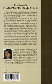 Extraits de la pharmacopée universelle - 4ème de couverture - Format classique