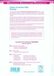 Biologie ; CM2 ; cahiers d'activités - 4ème de couverture - Format classique