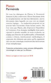 Parménide - 4ème de couverture - Format classique