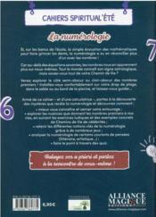 Cahiers spiritual'ete 2021 : la numerologie - 4ème de couverture - Format classique
