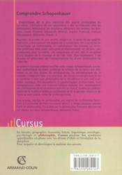 Comprendre Schopenhaueur - 4ème de couverture - Format classique