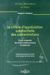 Le critère d'appréciations substantielles des concentrations ; étude comparée des droits communs - Intérieur - Format classique