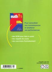 Mathématiques ; 1ère S ; livre de l'élève - 4ème de couverture - Format classique