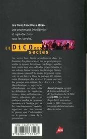 Le dico des sectes - 4ème de couverture - Format classique