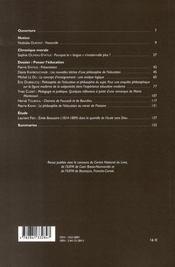 Revue Le Telemaque N.30 ; Penser L'Education - 4ème de couverture - Format classique