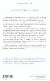 La duchesse de chevreuse - 4ème de couverture - Format classique