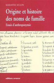 Origine Et Histoire Des Noms De Famille - Intérieur - Format classique