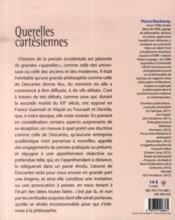 Querelles cartesiennes - 4ème de couverture - Format classique