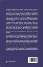 Revue géographie et cultures ; penser le monde en géographie ; soixante ans de réflexion - 4ème de couverture - Format classique