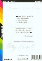 La fête en poésie - 4ème de couverture - Format classique