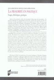 Proximite en politique - 4ème de couverture - Format classique