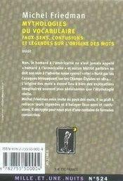 Mythologies du vocabulaire - 4ème de couverture - Format classique