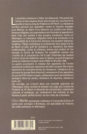 Les Resistances Allemandes A Hiltler - 4ème de couverture - Format classique