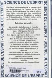 Science de l occulte ear - 4ème de couverture - Format classique