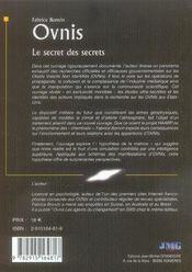 Ovnis, le secret des secrets - 4ème de couverture - Format classique