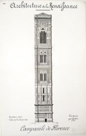 Architecture de la Renaissance. Campanile de Florence construit par Giotto [ Beau lavis original ] - Couverture - Format classique