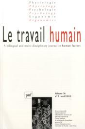 Revue Le Travail Humain N.76/2 (édition 2013) - Couverture - Format classique