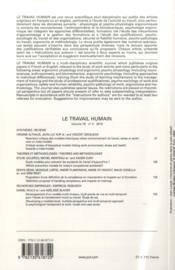 Revue Le Travail Humain N.76/2 (édition 2013) - 4ème de couverture - Format classique