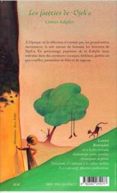 Facéties de Djeh'a ; contes kabyles - 4ème de couverture - Format classique