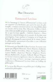 Emmanuel Lévinas - 4ème de couverture - Format classique