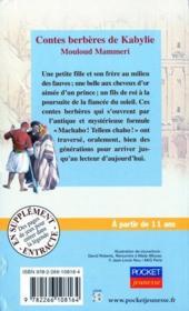 Contes berbères de Kabylie - 4ème de couverture - Format classique