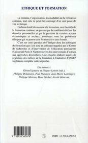 Ethique Et Formation - 4ème de couverture - Format classique