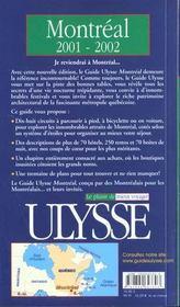 Montreal ; Edition 2001-2002 - 4ème de couverture - Format classique
